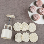 Cookie Stamps Moon Cake Mould with 6 Stamps, Cookie Press Mid Autumn Festival DIY Decoration 75g Press Cake Cutter Mould
