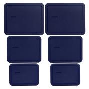 Pyrex (2) 7212-PC (2) 7211-PC (2) 7210-PC Dark Blue Rectangle Plastic Storage Lids - 6 Pack