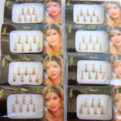 4 Packs - 28 Long Different Design Gold Bindis