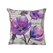 Vovomay Home Purple Flower Style Home Decorative Flax Throw Pillow Cover Cushion Case Square Pillowslip For Home Decor 46cm X 46cm