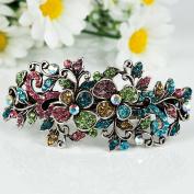 Beautyxyz Woman's new flowers silver plated metal fashion rhinestone hair clip Barrette
