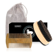 Xpreen Bread Brush and Beard Comb for Men, Dual Action Handmade Sandalwood Shaping Tool with Natural Boar Bristle Brush, Comb Kit for Hair, Beard and Moustache