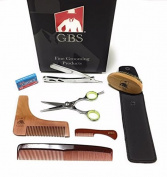 GBS Beard Shaping Tool Kit- Barber Shavette with case, Shaping & Styling Template, Boar Bristle Beard Brush, Moustache comb, 18cm Dressing Comb, 13cm Beard Scissors + Free 10 pack of Blades