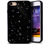 iPhone 7 Case,iPhone 7 Bling Glitter TPU Case,PHEZEN Shiny Sparkle Star Flexible Soft Rubber Gel Black TPU Cases Silicone Back Case for iPhone 7 12cm