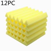 12pcs Acoustic Soundproof Stop Absorption Wedge Studio Foam 30cm x 30cm x 5.1cm Yellow