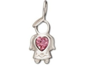 Sterling Silver Angel with October Birthstone Rose Crystal