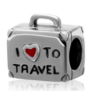Suitcase Charm with Red Enamel Heart 925 Sterling Silver I love to Travel Charm Luggage Charm for Pandora Bracelet