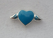 Blue Heart with Wings Floating Charm