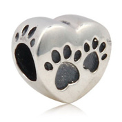 Dog Paw Charm 925 Sterling Silver Heart Charm Pet Charm for Pandora Bracelet