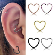 Excellent.advanced Women's Fashion Heart Shaped Stainless Steel Earring Hoop