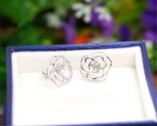 MFMei White Gold Plated Flower Ear Stud Components, Jewellery Findings