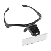 AOZBZ 2-LED Visor Head Magnifier,With 5 Replaceable Lens Headband 1.0/1.5/2.0/2.5/3.5X Magnification