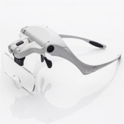 PES Hands Free Head Mounted Magnifier with Led Head Light Bracket and Headband, 5 Replaceable Magnifying Glass