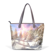 Coosun Womens Trees In The Winter Pu Leather Large Tote Bag Handle Shoulder Bag