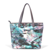 Coosun Womens Abstract Pic Pu Leather Large Tote Bag Handle Shoulder Bag