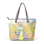 Coosun Womens Forest Pu Leather Large Tote Bag Handle Shoulder Bag