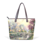 Coosun Womens Castle And Trees Pu Leather Large Tote Bag Handle Shoulder Bag