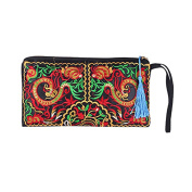 OULII Women's Wristlets Bag Clutch Wallets Purses Retro Ethnic Embroider Purse Wallet Pouch Phone Bag
