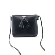 Xjp Ladies Leather Shoulder Bag Solid Colour Crossbody with Tassels