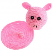 Osye Newborn Baby Crochet Knitted Outfit Pink Piggy Costume Set Photography Photo Props
