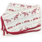 Bambino Land Big Bambino Bamboo Double Layer Muslin Blanket - Red Elephants