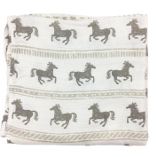 Bambino Land Big Bambino Bamboo Single Layer Muslin Blanket - Horses