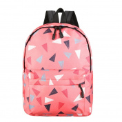 Anshinto Women Recreation Travel Canvas Triangular Geometry Satchel School Bag Zipper Backpack