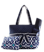 Quilted Geometric Anchor 3pc Nappy Bag Set