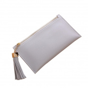 Lady's Long Purse Mokao Zipper Tassel Pendant PU Leather Hot Summer Solid Classic Soft Casual Handbags Slim Bi-Fold Flip Wallet