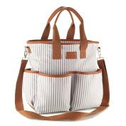 CHIC MOM Multifunctional Nappy Bag - . Designer Tote Bag- Canvas Handbag - Changing Pad & Stroller Straps Included