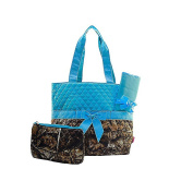 Quilted Nappy Bag 3-Piece Set, Camo Turquoise Trim By Quilted