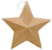 Set of 4 Ready to Personalise Paper Mache Star Ornaments For Crafting, Creating and Embellishing