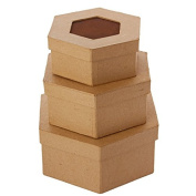 Package of 3 Octagon Shaped Paper Mache Boxes with Rusty Tin Centre Lids for Crafting, Storing and Creating