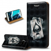 Galaxy S7 Edge Case,Galaxy S7 Edge Cover,ikasus 3D Painted Embossed Premium PU Leather Fold Wallet Pouch Case Flip Stand Credit Card ID Holder Case Cover for Samsung Galaxy S7 Edge,Playing Cards Skull