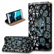 Huawei P8 Lite Case,Huawei P8 Lite Wallet Case,ikasus 3D Painted Embossed Premium PU Leather Fold Wallet Pouch Case Flip Stand Credit Card ID Holders Case Cover for Huawei P8 Lite,Skeleton Skull