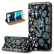 iPhone 7 Case,iPhone 7 Wallet Case,ikasus 3D Painted Embossed Premium PU Leather Fold Wallet Pouch Case Flip Stand Credit Card ID Holders Case Cover for Apple iPhone 7 (2016) 12cm ),Skeleton Skull