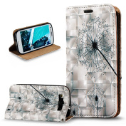 Galaxy S3 Case,Galaxy S3 Neo Case,ikasus 3D Painted Embossed Premium PU Leather Fold Wallet Pouch Case Flip Stand Credit Card ID Holders Case Cover for Galaxy S3 / S3 Neo Wallet Case,Dandelion
