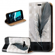 J1 2016 Case,Galaxy Amp 2 Case,Galaxy Express 3 Case,ikasus 3D Painted Embossed PU Leather Fold Wallet Pouch Flip Stand Credit Card Holders Case for Galaxy J1 2016/Amp 2/Express 3,Black White Feathers