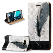 Galaxy A5 Case,Galaxy A5 Cover,ikasus 3D Painted Embossed Premium PU Leather Fold Wallet Pouch Case Flip Stand Credit Card ID Holders Case Cover for Galaxy A5 (2014) SM-A500F 13cm ,Black White Feathers