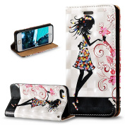 iPhone 5S Case,iPhone 5 Case,iPhone SE Case,ikasus 3D Painted Embossed Premium PU Leather Fold Wallet Pouch Case Flip Stand Credit Card ID Holders Case Cover for Apple iPhone 5S 5 SE,Flower Girl