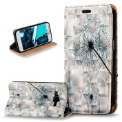 Galaxy Core Prime Case,Galaxy Core Prime Cover,ikasus 3D Painted Embossed Premium PU Leather Fold Wallet Pouch Case Flip Stand Credit Card ID Holders Case Cover for Galaxy Core Prime G360,Dandelion