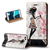 iPhone 6S Case,iPhone 6 Case,iPhone 6S / 6 Case,ikasus 3D Painted Embossed Premium PU Leather Fold Wallet Pouch Case Flip Stand Credit Card ID Holders Case Cover for iPhone 6S / 6 12cm ,Flower Girl