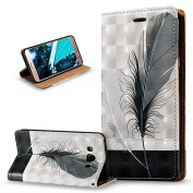 Galaxy J7 2016 Case,Galaxy J7 2016 Cover,ikasus 3D Painted Embossed Premium PU Leather Fold Wallet Pouch Case Flip Stand Credit Card ID Holders Case Cover for Galaxy J7 (2016),Black White Feathers