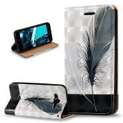Galaxy J5 Case,Galaxy J5 Cover,ikasus 3D Painted Embossed Premium PU Leather Fold Wallet Pouch Case Flip Stand Credit Card ID Holders Case Cover for Galaxy J5 (2015) SM-J500F,Black White Feathers