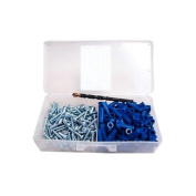 ANC-Kit 100 Pack Wall Anchor Kit #8 Plastic Anchors Fastener Pan Head #8 Screws 100 Pk One 0.06m Masonry Drill in Plastic Case 201 Piece Count, Home Improvement Set