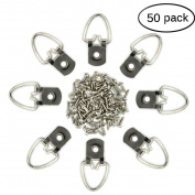 eZAKKA 50 Pieces D Ring Picture Frame Hangers Hanging Heavy Duty with 50 Screws for Painting Mirror Clock Photo Frame