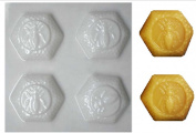 Soap Candle Making Plastic Hexagon Mould with Bee 4 Cavities