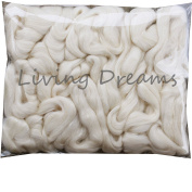 BABY ALPACA SILK Fibre Blend. Luxuriously Soft Combed Top Wool Roving for Spinning, Felting, Blending and other Fibre Crafts. Natural White