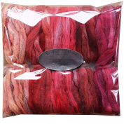 HAND DYED Merino Tencel SPINNING fibre. Super Soft Wool Top Roving drafted for Hand Spinning, Felting, Blending and Weaving. 5 beautifully coloured Mini Skeins DISCOUNT PACK, Red Fire