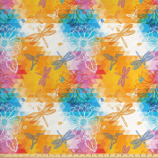 Batik Decor Fabric by the Yard by Ambesonne, Geometric Triangular Setting with Silhouettes of Birds Butterfly Ladybug and Dragonfly Pattern, Decorative Fabric for Upholstery and Home Accents, Multi